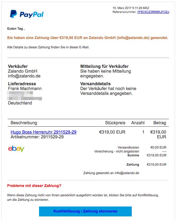 Paypal Email Konfliktlösung